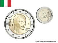 2 Euros Commémorative Italie 2019 Leonardo UNC