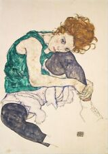 Laminated print by Woman seated by Egon Schiele size A4