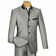 VINCI Men's Gray Sharkskin Banded Collar Slim Fit Tuxedo Suit NEW