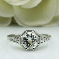 Art Deco 3.20 Ct Round Diamond Engagement Ring For Women 14K White Gold Finish