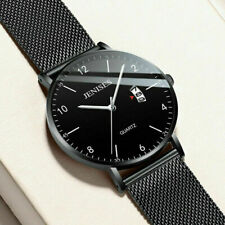 Waterproof Mens Luminous Thin Formal Big Dial Stainless Steel Date Quartz Watch