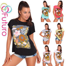Party T-Shirt Flowers Print Crew Neck Short Sleeve Cotton Top Sizes 8-14 FB170