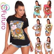 Camiseta de Fiesta Flores Estampado Manga Corta Cuello Redondo Algodón Top Talla