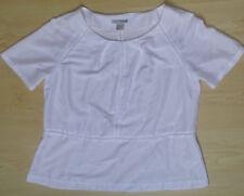 T-Shirt rundhals Häkelnaht Satinoptik schimmernd weiß Gr. 40 H&M