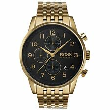 Hugo Boss Black Navigator Gold Plated Mens Watch 1513531