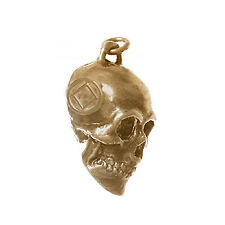 NA Narcotics Anonymous Jewelry Pendant, Antiqued Brass Finish, 3D Skull #1031