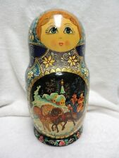 Russian Handpainted Large Nesting Doll Signed 1 Piece