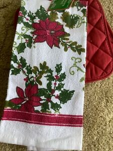 Holiday Style Red 3 Piece Kitchen Set Towel and Hot Pads