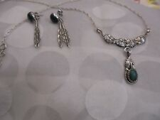 STERLING SILVER  MALACHITE NATIVE   NECKLACE /EARRINGS SET  SIGNED  RB