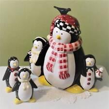 Penguin Canister Cookie Jar matching Salt Pepper Shakers Sakura Debbie Mumm
