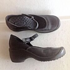 Ladies Black Leather Privo By Clarks Adjustable Heels Shoes 7