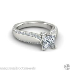 2.00 CTS PRINCESS CUT DIAMOND EURO SHANK ENGAGEMENT RING 14KT SOLID WHITE GOLD