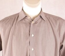ETON GANGHESTER CONTEMPORARY FIT Mens Grey Striped Long Sleeve Shirt 16 41