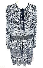 Michael Kors Ikat Chiffon Ruffle Fit & Flare Mini Dress Women Size XXL Crew Neck