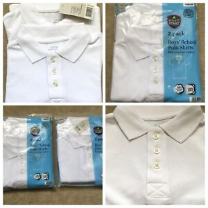 2 PACK BOYS SCHOOL POLO SHORT SLEEVE SHIRTS- PURE COTTON FOR COMFORT