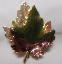 VTG KENNETH COLE KC MAPLE LEAF GREEN BROWN BROOCH PIN GOLD T FALL BROOCH PIN E21