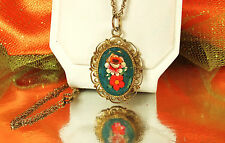 "FAB! 1950s MOSAIC Necklace~Floral~Filigree GOLD Plated Pendant~12K GF 18"" Chain"