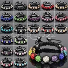 Crystal Disco Ball Rhinestones Beads Friendship Adjustable Bracelet 22 Color