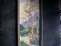 1930s ERNEST E. PETTENGILL (Mass: 1886-1951) Oil Painting AUTUMN BIRCH TREE vtg