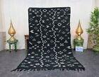 "Moroccan Handmade Kilim Zanafi Rug 4'6""x7'8"" Berber Abstract Black White Carpet"
