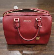 NWT Michael Kors Mercer Medium Leather Duffle Bag -  Cherry