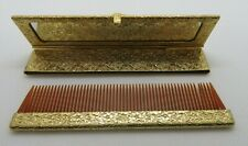 Vintage Comb & Mirror Compact Set In Gold Tone Case