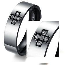 Men's Unisex Stainless Steel Ring Zirconia Plain Black Size 10 L46