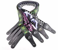 Guitar Strap Nylon Webbing Leather End Acoustic Electric Bass Pattern Multiple