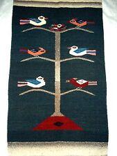 "Wool Tapestry Area Rug BIRDS Primitive Birds 40"" x 22"" WOOL"
