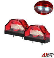 2x LED Rear Tail License Number Plate Lights Lamp 12-24V Lorry Truck Trailer Cab