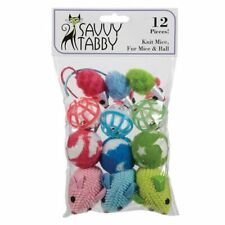 New listing Cat Toy Pack Knit Fur Mice Bell Rattle Mouse Catnip Balls Pet Kitten Play 12pc