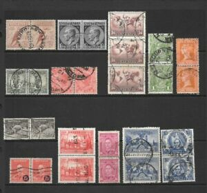 Stamps Australia KGV/ V1 Pairs Selection x 13 Good/Fine Used 1d to 1'6