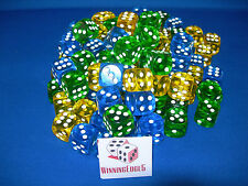 NEW 18 ASSORTED YELLOW GREEN AND BLUE ACRYLIC DICE 16MM 3 COLORS 6 OF EACH COLOR