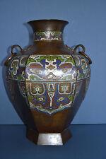 Large Antique 19th Century Chinese Bronze Cloisonne Vase ,Ring Handles,c 1880