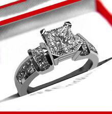 1.90 CT GENUINE PRINCESS CUT DIAMOND ENGAGEMENT WEDDING RING 14K WHITE GOLD PD56