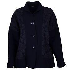 $375 RISONA EUROPEAN Knitwear WOOL EMBOSSED SWEATER CARDIGAN BUTTON JACKET