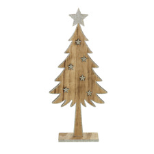 Heaven Sends Christmas Ornament – Tall Wooden Tree with Silver Stars