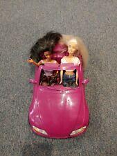 Barbie Purple Cabriolet Car Mattel + 2 Vintage Barbie dolls w/ outfits 2003