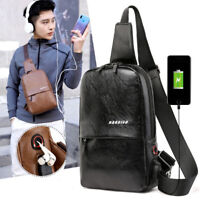 Men's Leather Shoulder Bag Crossbody Bag Handbag Satchel Bag Man Sling Chest Bag