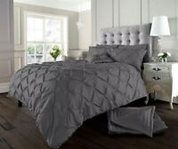 NEW Charcoal Grey Luxury Modern Pin Tuck Bedding Duvet Set All Sizes
