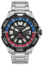 New Citizen ProMaster GMT Eco Drive ST Steel Black Dial Men's Watch BJ7128-59E