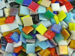 Loose mixed 10mm Iridescent Mosaic Tiles. 100, 400, 800 & 1600 pack.