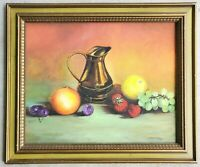 Vintage 1970's Signed Oil on Board 16x20 Painting Still Life Fruit Pitcher 1978