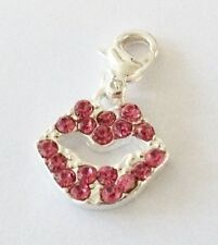 SILVER & BRIGHT PINK RHINESTONE LIPS  CLIP ON CHARM FOR BRACELETS - S/PLATE-NEW