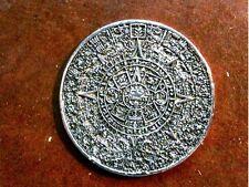 Ancient Mayan, Aztec Calendar Coin, Silver, Metal