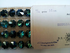 Swarovski Vintage Art 5110 Bermuda blue  14mm  24 beads a tray NOS