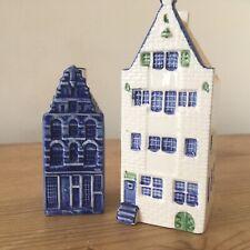 Vintage Dutch Delft Pottery House Decanter & Pepper Pot. Elesva & Delfts Blue