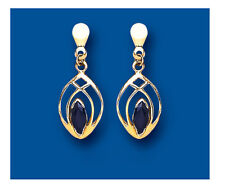 Sapphire Earrings Yellow Gold Drop Natural Sapphire Marquise