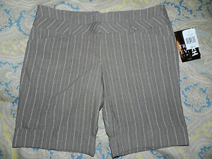 NWT Juniors Dress Shorts (Sz 9) -Taupe/ Brown with Pinstripe (NEW WITH TAGS)
