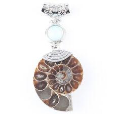 1Pc Healing Chakra Bead Madagascar Fossil Ammonite Opal Opalite Gemstone Pendant